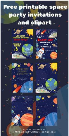 Outer Space Birthday Party * Free Invitations * Party with Unicorns Free Printable Party Invitations, Party Invitations Kids, Invitation Ideas, Invitation Templates, Invitation Cards, Wedding Invitations, Theme Galaxy, Astronaut Party, Outer Space Party