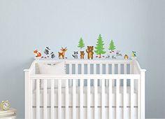 24 Sticker Waldtiere Wandtattoo Wandsticker Kinderzimmer A045