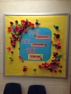 Spring bulletin board, flowers, bees