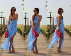 Blue Cut Out Beach Maxi Dress - Fashion Clothing, Latest Street Fashion At Abaday.com