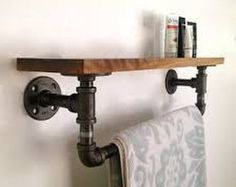 Items similar to Industrial Wood Shelf and Pipe Towel Rack on Etsy