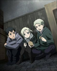 Attack On Titan   The Titan Trio as child refugees within the wall.   Annie Leonheart, Bertholt Hoover, Reiner Braun