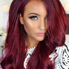 Fire red hair color perfect in accordance with engine colour . Long Hairstyles, Pretty Hairstyles, Vibrant Red Hair, Violet Red Hair Color, Red Hair Shades, Cherry Red Hair, Red Hair Blue Eyes, Colorful Hair, New Hair Colors