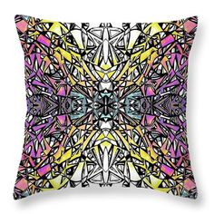 """Ink Rainbow Mandala Throw Pillow by Expressionistartstudio Priscilla-Batzell.  Our throw pillows are made from 100% spun polyester poplin fabric and add a stylish statement to any room.  Pillows are available in sizes from 14"""" x 14"""" up to 26"""" x 26"""".  Each pillow is printed on both sides (same image) and includes a concealed zipper and removable insert (if selected) for easy cleaning."""