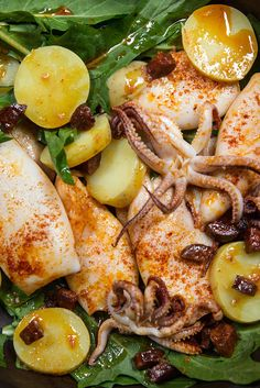 NYT Cooking: Everyone knows about fried calamari, but pan-roasted is a different beast entirely. This easy technique begins on the stovetop and finishes in a hot oven. In less than 10 minutes, you have savory roasted whole-body squid, made spicy with Spanish chorizo and a dash of pimentón, crisp on the outside and juicy and tender in the middle. Eat with a knife and fork or slice into rings for a warm salad.