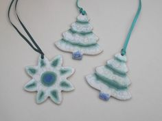 Shoply.com -Ceramic Christmas tree ornaments... Frosty turquoise set of 3. Only £8.95