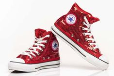 sparkly red converse high tops