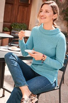 Mid-week pick-me-ups: Warm sunshine, Italian coffee, gorgeous new sweaters. Fall Sweaters, Sweaters For Women, Classic Style, My Style, Fall Outfits, Work Outfits, Fall Collections, Eclectic Style, Talbots