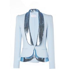 Zuhair Murad Sequin Embellished Blazer ($3,250) ❤ liked on Polyvore featuring outerwear, jackets, blazers, blue, sequin blazer jacket, blue jackets, sequin jacket, lapel jacket and sequin blazer