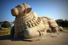 The magnificent monolithic Nandi statue at Lepakshi, Andhra Pradesh is the largest in India. It is 4.5 m high and 8.23 m long.