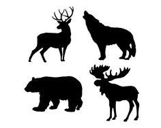 Wildlife Stencil Set of 4  Wooden Pallet by lifeisartstudio