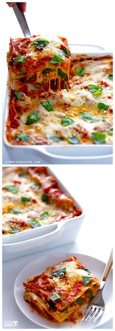 10-Minute Spinah Lasagna -- all you need are 10 minutes to prep this hearty and delicious vegetarian meal! | gimmesomeoven.com