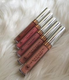 #nudeseries Liquid Lipsticks @glamtrashmakeup From the top AshtonDolceCrushStrippedNaked #anastasiabeverlyhills