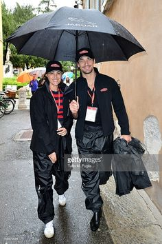 Yasmine Le Bon (L) and David Gandy members of the Jaguar crew attends the Mille Miglia race on May 16, 2013 in Brescia, Italy.