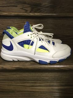 cf2f351217399 Mens Nike Zoom Huarache Trainer TR Low White Varsity Royal Volt Sz. 12 ID   442243-147