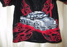 Montage-Boys-Shirt-Sz-5-6-Black-Red-Gray-Truck-Front-Back-Scrolls-Clearance