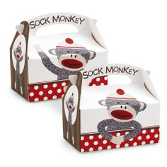 Sock Monkey Red Empty Favor Boxes (4)