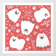 Buy White Pomeranians Pattern Art Print by Jenn Inashvili. Worldwide shipping available at Society6.com. Just one of millions of high quality products available.