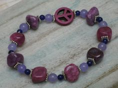 SALE!! Amethyst & Pink Quartzite Peace Bracelet with Blue Aventurine and Antique Silver Spacers, Stone Stretch Bracelet