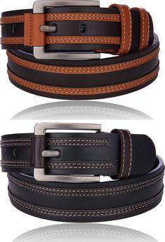 New Men's Unique Dual Color Casual Dress Leather Belt w/ Buckle Genuine Fashion Best Leather Belt, Leather Tool Belt, Leather Tooling, Leather Men, Leather Wallet, Mens Belts Fashion, Leather Bag Tutorial, Luxury Belts, Casual Belt