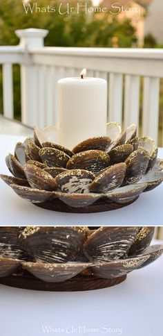 Expecting guests? They'll be happy as clams when they see this ocean-inspired centerpiece by @wuhs. Stain the base quickly and easily with Minwax® Wood Finishing Cloths for a look that's all your own. #tablescape