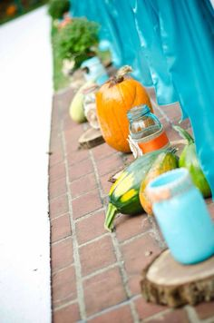 Isle way #ise #decor #orange #turquoise #brown #burlap #wood #masonjar #wedding #rustic #fall  #HughesMarseeWedding13