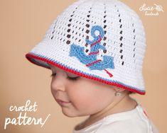 Crochet Hat PATTERN No.52 - Summer Hat Crochet Pattern, Spring hat, Summer cap, Spring cap, Crochet anchor, UNI cap. #ad