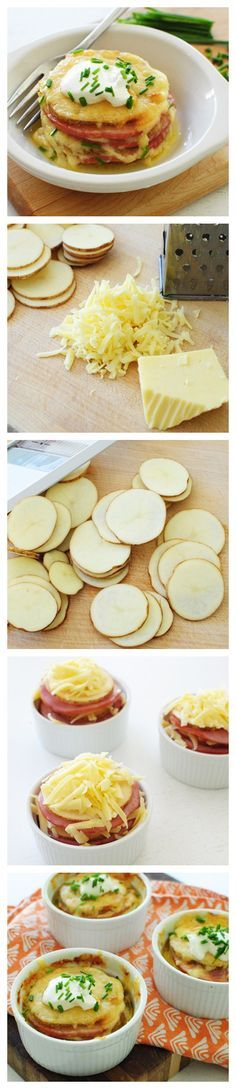 Cheesy Potato Stackers ~ It's a twist on the classic baked potato. Discs of potatoes, Canadian bacon and LOTS of cheese