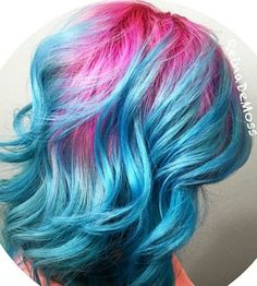 Pink blue ombre dyed hair color @hairartbyreina
