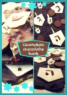 Dark chocolate bark with crispy rice & dried cranberries, is decorated with chocolate coins and white chocolate dreidels, for a decadent festive treat! #Chanukah #Hanukkah