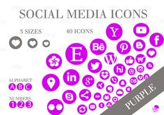 Social Media Icons Set Purple Download Social Media Buttons, Social Media Icons, Icon Set, Purple, Pink, This Or That Questions, Website, Blog, Etsy