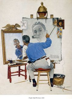 """Triple Self-Portrait"" by Norman Rockwell, 1960 ・ Style: Regionalism ・ Genre: self-portrait"