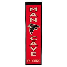 "$31.50 - Your favorite space deserves a little bit of your favorite NFL team, and this Atlanta Falcons banner is just the ticket. Featuring team logo, helmet and ""Man Cave"" applique and embroidery. Product Features Hanging cord Product Details 32"" x 8"" Wool blend felt Imported"