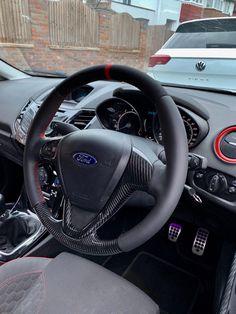 Fiesta Custom Steering Wheel , find out more , click Visit Focus Rs, Ford Focus, Ford Fiesta St, Steering Wheels, Car Upholstery, Carbon Fiber, Vehicles, Red, Instagram