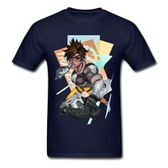 BEOLD Cheap and Fine Overwatch Tracer Art Navy Men's T-Shirt. Medium