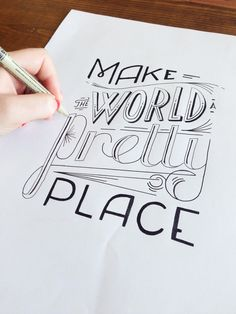 Handlettering >> skillshare: Featured Student Project: Make the world a pretty place. Class: The First Steps of Hand-Lettering: Concept to SketchCreated by:. Inspiration Typographie, Typography Inspiration, Calligraphy Letters, Typography Letters, Typography Served, Brush Lettering, Lettering Design, Ouvrages D'art, To Do Planner