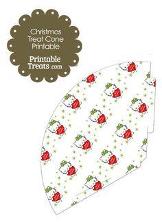 Christmas Hello Kitty Printable Treat Cone from PrintableTreats.com