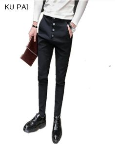 2018 season men's tight feet slim pants male Korean version of the young body hair stylist tide elastic casual pants