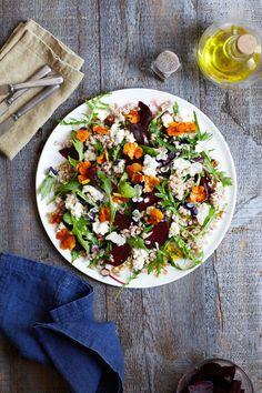 Beetroot, goat's curd, hazelnut and dill saladredmagazine Dill Salad Recipe, Salad Recipes, Goats Curd, Toasted Pumpkin Seeds, Farro Salad, Scandinavian Food, Beetroot, Summer Salads, Crunches