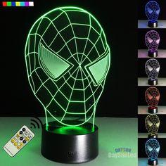 Logical 7 Color Changing 3d Acrylic Spiderman Led Desk Lamp Super Hero Night Lights Usb Touch Children Bedside Sleep Lighting Kids Gifts A Great Variety Of Models Lights & Lighting