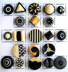 Art Deco VINTAGE CELLULOID BUTTONS / BLACK & WHITE/CREAM