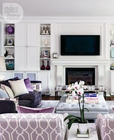 Decorator Jennifer Reid adds pretty colour and texture to this all-white interior home.