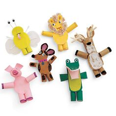 Paper Finger Puppets. These are pretty fancy lookin'. How about your kids? They might get a kick out of making finger puppets. And putting on a show, too, of course.    #puppets #kids #kidscrafts #play