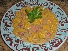 Shawna's Food and Recipe Blog: Calabaza Pasta with Ham and Danish Bleu Cheese Tom...