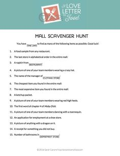 Shopping mall Mall Scavenger Hunt Party Party Ideas | Photo 1 of 4 | Catch My…