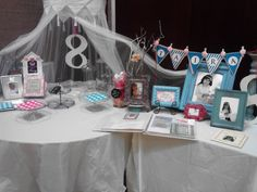 Photo Display & Dessert Table for our sweet T's  baptism luncheon! It's GREAT to be 8! #LDS #Baptism