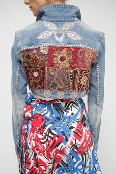 Boho Cropped Embroidery Jean Jacket/  Vintage Embroidery