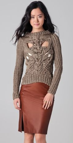 This Nellie Partow Ayer Metallic Sweater looks like a knit skeleton torso!