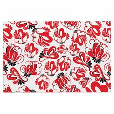 "Maria Bazarova ""Red Flowers"" Black Floral Decorative Door Mat"