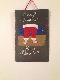 Hand painted Santa in flip flops slate on Etsy, $25.00